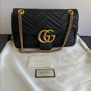 Gucci Marmont Medium Black Leather Cross Body Bag